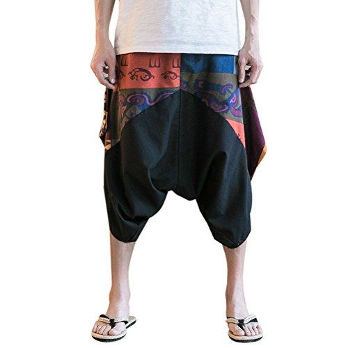 Zhhlinyuan Pantalones Cagados Cortos para hombres y mujeres Harem Pantalón  Baggy Yoga lino harén pantalones corte ad923e62cab5