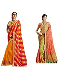 Mantra Fashions Women's Georgette Saree (Mant26_Multi)-Pack of 2
