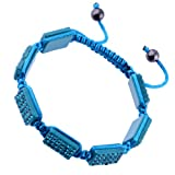 Kadima Crystal Square Pave Beads Square Shamballa Adjustable Bracelet,Unisex,10x14mm Resin Square Beads With Blue Zircon Gems,Color String
