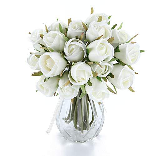 T4U Künstliche Rosen Kunstblumen Strauß Seide Weiß 36er-Set für Wohnung Hochzeit Hotel Restaurant Deko