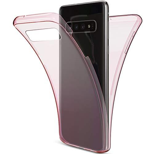 Herbests Kompatibel mit Samsung Galaxy S10 Plus Handyhülle 360 Grad Double Side Beidseitiger Cover Silikon Transparent Full Body Case Clear Doppel-Schutz Rundumschutz Durchsichtig Hülle,Rose Gold