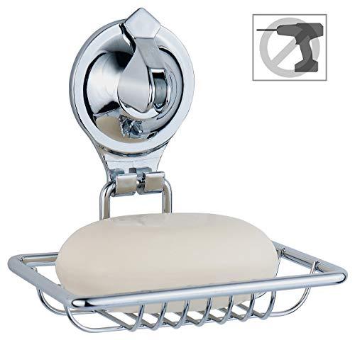 Carlo Milano Seifenschale: Seifenhalter mit Saugnapf, aus verchromtem Edelstahl, kein Bohren (Seifenschale mit Saugnapf)
