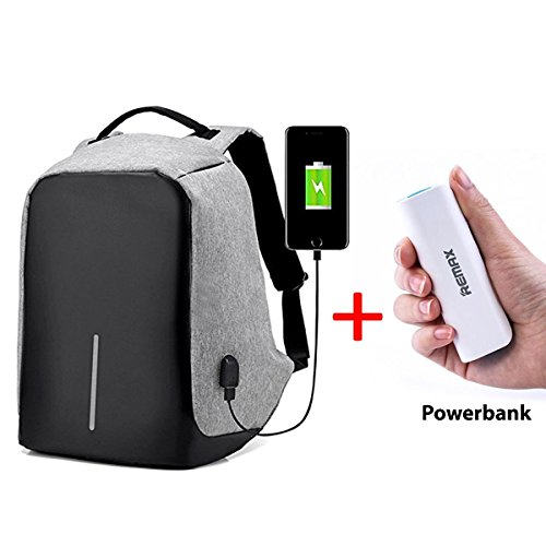 Insasta Anti-Theft Water Resistant Travel Backpack Suitable For Laptop, Camera, College Bag - Grey with free Remax 2600mAh Power Bank