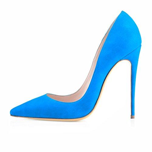 EDEFS Damenschuhe Faschion SUKaite 120mm Spitzschuh klassische Partei dünne Pumps Stiletto Schuhe Suede-Blau