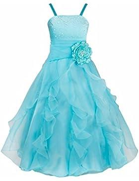 iEFiEL Vestido de Fiesta Boda Ceremonia Bautizo Niña Vestido Largo Floral Disfraz de Princesa para Niña