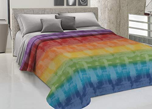 Biancheriaweb copriletto piquet in 100% cotone disegno arcobaleno colore multicolor matrimoniale multicolor