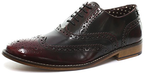 London Brogues richelieu Gatsby Cuir Homme Mocassin Bordo Hi Shine Leather