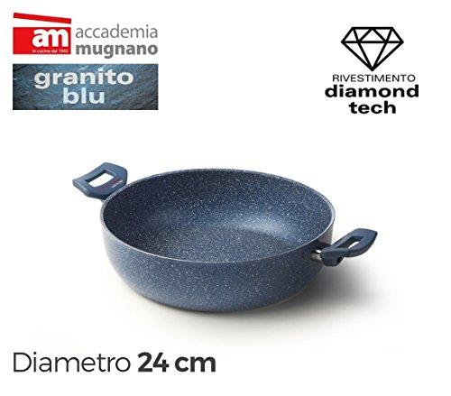 Tegame con due maniglie 24cm diamond tech effetto pietra accademia mugnano granito blu. mws