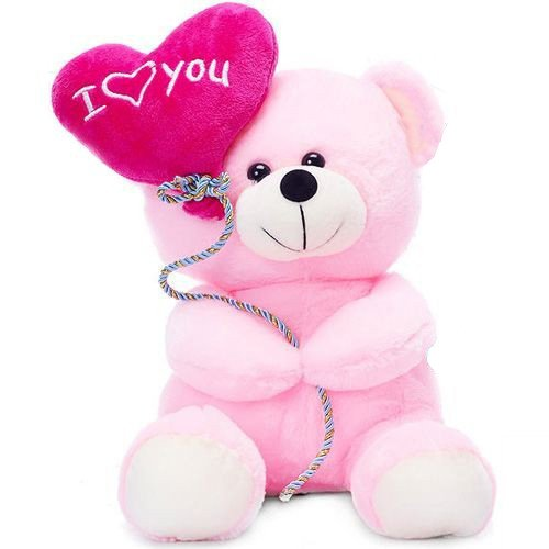 Liloneteddy Holding I Love You Balloon Soft Toys For Grilfriend Pink - Size 18 Cm