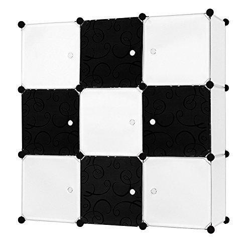 EGLEMTEK Schrank Garderobe Regal Würfel Mobiletto Modular Modulares quadratisch 9Fächer 35,5x 35,5x 35,5cm weiß/schwarz -