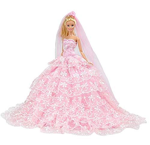 864adb5df7 E-TING Princess Doll Dress Clothes Evening Party Outfit + Veil Set For  Barbie Doll