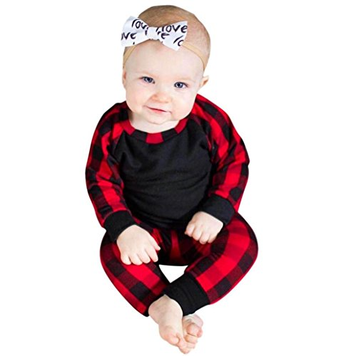 (2 Stück Neugeborene Baby Kleidung Set Junge Mädchen Langarm Plaid T-Shirt Tops Sweatshirt + Weich Hose Pants Outfits Set Kleinkind Kinder Kleider Babykleidung Geburtstag Geschenk)