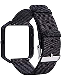 TLfyajJ Replacement Canvas Watch Band with Metal Frame for Fitbit Blaze Smart Bracelet Black