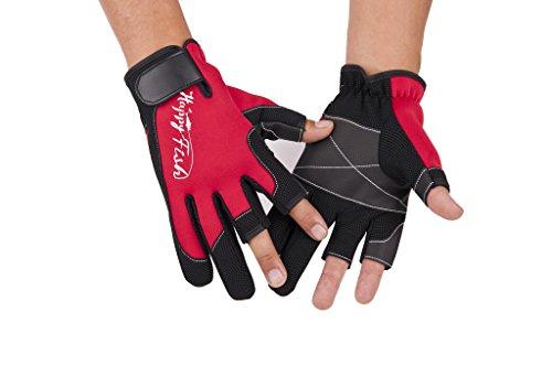 HYSENM 3 Cut Finger Handschuh Atmungsaktiv Schnell-Trocken Leichtgewicht Wasserdicht Weich Warm-Halten Stossfest Rutschfest Für Outdoor Camping Angeln Bergsteigen Neoprene Gloves, rot, L