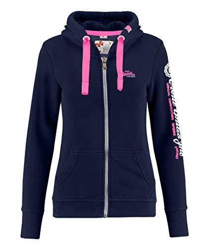 M.Conte Rachel Damen Hooded Sweater Sweat-Shirt-Jacke S M L XL Weiss Blau Grau Schwarz Pink Mit Kapuze Navy Marine Blau XL
