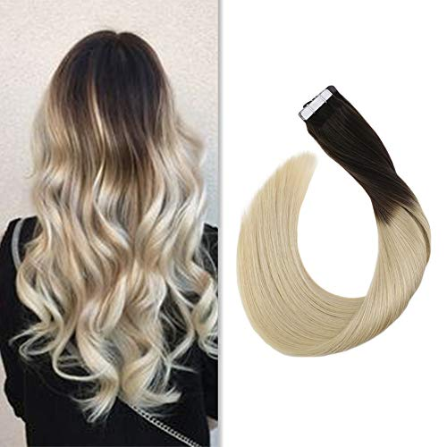 Ugeat Tape in Extensions Echthaar 100% Real Human Hair Braun Ombre Blond Remi Haar Extensions Tape Seamless Haar Glatt 20 zoll/50cm 50g/20pcs