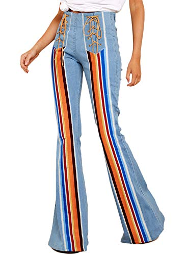 Dokotoo Damen Jeans Mid Waist Slim Fit Denim-Hose Baggy Pants Flare-Hose Farbstreifen Jeanshosen Schlaghosen Himmelblau M(EU40-42) Hose Flare Jeans