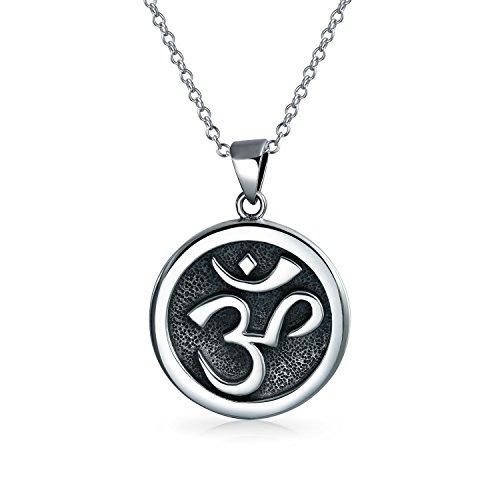 Aum Om Ohm Sanskrit Zeichen Yoga Medaillon Anhänger Für Damen Für Herren Halskette Circle Disc Oxydiert Silber 18 Zoll