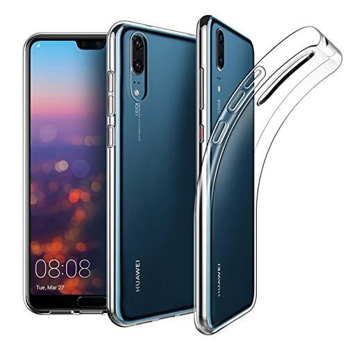 Conie Silkon Rückschale Transparent, Case Für Huawei P20 - Flexibles Cover, Druckknöpfe Rutschfest, P20 Durchsichtig Klare Schutz- Hülle