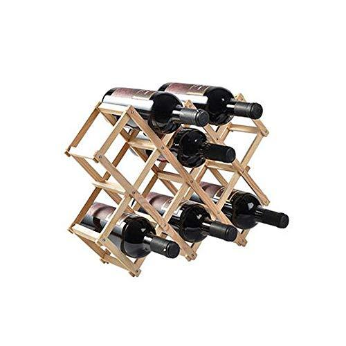 Weinflaschenhalter, geeignet für Hauptdekoration Weinregal, Kiefer Falten praktische Weinregal Dekoration, Wohnzimmer Weinflaschenregal Display Stand (Color : Natural, Size : 45 * 31 * 12cm) -