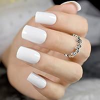 EchiQ uñas postizas de color blanco sólido cuadrado de tamaño mediano para uñas postizas, uñas postizas de gel.