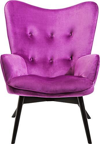 Kare Design Sessel Vicky Velvet, samtiger Loungesessel, TV-Sessel mit dunklem Holzgestell, Lila...