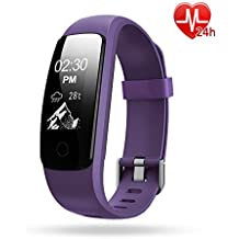 Lintelek B076CZW5JK, Activity Tracker, Lintelek IP67 Waterproof Fitness Tracker Watch with Heart Rate Monitor, Step Counter Watch Stopwatch with 14 Sports Mode/ Connected GPS / Relax, Bluetooth Pedometer for Android phone and iOS (Sports & Outdoors)