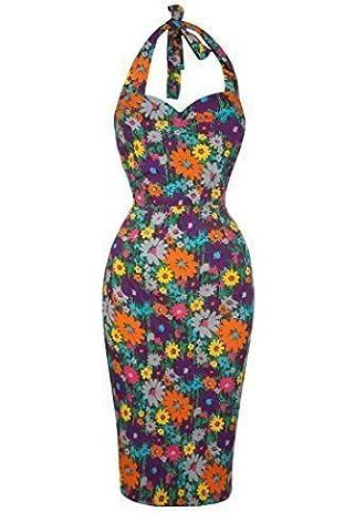 Vinatge Retro 1940's Wiggle Pencil Skirt Halter Neck Dasiy Flower Summer Party Dress - 10 -20