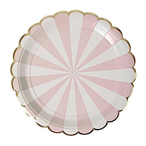Meri Meri Meri Teller mit Fächerstreifen, groß, Dusty Pink