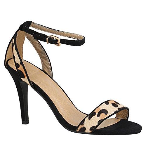 Party Damen Sandaletten Glitzer High Heels Stilettos Schnallen 155312 Schwarz Leopard 40 Flandell (Leopard Schnalle)