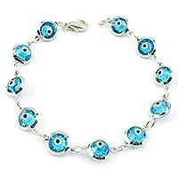 Womens Ladies Sky Blue Glass Evil Eye Good Luck Bracelet 7.5 in