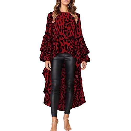 BaZhaHei Donna Camicetta,Stampa Leopardo Camicia Donna Elegante Irregolare Manica Lunga O-Collo Moda Casual Maglietta Primavera Estate Top Loose T-Shirt Pullover
