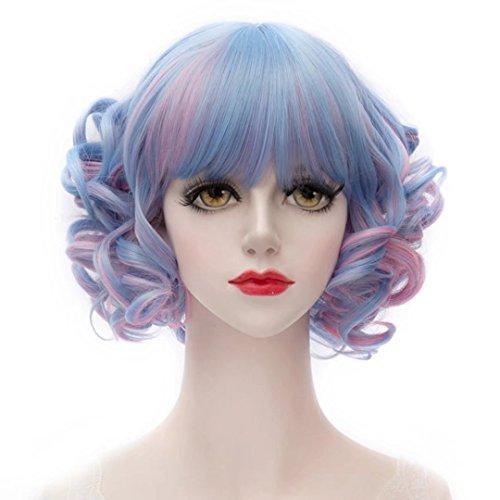 COSPLAZA Flat Bangs Blau Pastell Mittelteil Kurze Tiefe Welle Frauen Cosplay Party Perücken (60er Pastell Jahre)