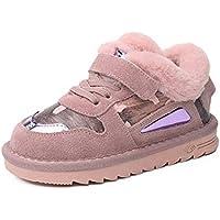 zj Zapatos de Algodón para Niños Invierno Más Terciopelo Engrosamiento, Niños Y Niñas, Zapatos Casuales, Pelo Real, Zapatos Casuales, Zapatos Ligeros para Niños,Rosado,30