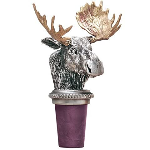 Moose w/ Brass Antlers Pewter Bottle Stopper by Heritage Pewter