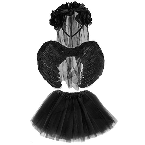 Lizzy® Deluxe Kinder Mädchen Halloween Tutu Kostüm Set Dark Angel Bride