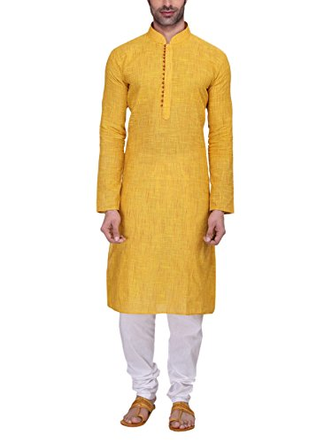 3. RG Designers Men's Full Sleeve Kurta Pyjama Set AVHandloomLoops-Yellow