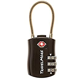 Lucchetto da viaggio TSA, lucchetti con combinazione valigie e zaini – 1 Pezzo Lucchetto TSA Nero
