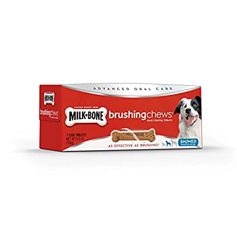 Milk-Bone Brushing Chews Advance Oral Care Daily Dental Dog Treats Small/MD 7ct