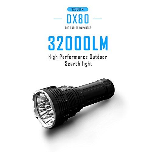 IMALENT DX80 Taschenlampe 32000 Lumen, 8pcs CREE XHP70 2 Generation LEDs Superhelle Taschenlampe, Wiederaufladbare Flutlichtlampe Professioneller Suchscheinwerfer für Suche und Rettung
