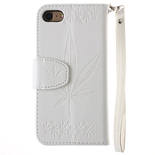 iPhone Case Cover IPhone 7 Case Cover, double face gaufrage Fleurs Haute Qualité Flip Stand PU Leather Case avec Lanyard Wallet & Card Cash Slots pour IPhone 7 ( Color : Gray , Size : IPhone 7 ) White