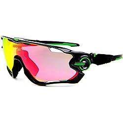 queshark TR90gafas de sol, marco, polarizadas, para ciclismo, para hombres, mujeres, deportes, 3lentes