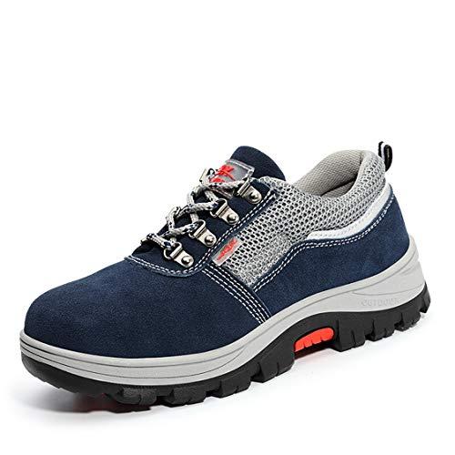 SFOXL Scarpe da Lavoro Uomo, Scarpe Antinfortunistiche con Punta in Acciaio Scarpe Sportive di Sicurezza Scarpe da Trekking,Blue,37EU