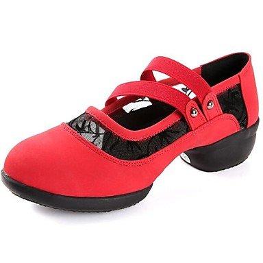 Silence @ Chaussures de danse pour femme Danse Sneakers Talon Plat en faux daim Noir/vert/rouge noir