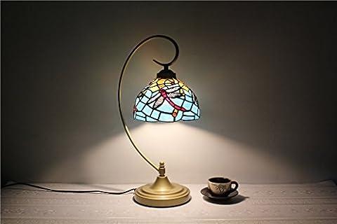 TOYM-8-Zoll-blaue Mittelmeer Libellen Glas Tischlampe Tiffany Glasmalerei Lampe Beleuchtung europäischen minimalistischem Luxus Tischlampe