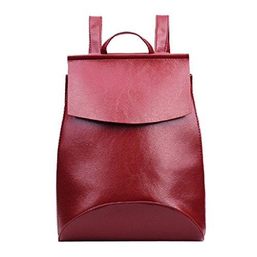 Kangrunmy®Donne moda scuola viaggio stile Satchel Bag borsa zaino Vino rosso