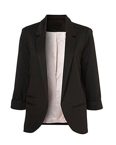 Minetom Damen Elegante 3/4-Arm Blazer Sakko Einfarbig Slim Fit Vorne Offnung Tasche Tailliert Geschäft Büro Kurzjacke Jacke Mantel Schwarz DE 44