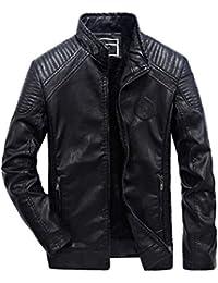 61422ac6c2e7 ROBO Homme Classique Automne Hiver Manteau en Cuir Veste Chaud Épais Rétro  Biker Blouson Men PU