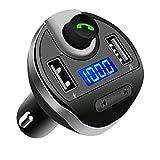 Trasmettitore Fm, Bluetooth Macchina MP3, Caricatore universale con doppia porta USB, kit vivavoce per auto, adattatore radio wireless, 5V 2.1A, scheda TF, chiavetta USB,QooTec EU006