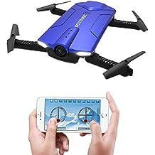 Potensic Drone Plegable y Portátil con Cámara Wifi 720P, Mini Drone Controlado Directamente por la APP de Móvil, es Ideal para los Principantes -Azul